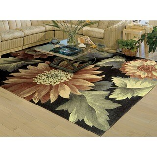 """Nourison Hand-Tufted Contours Floral-Print Black Rug (7'3"""" x 9'3"""")"""