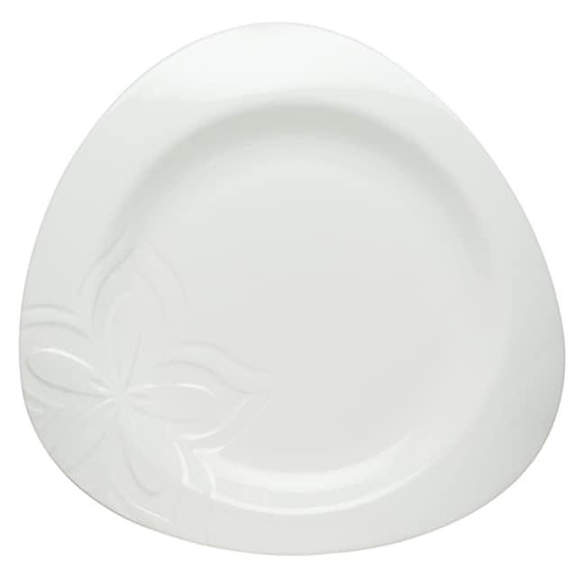 Red Vanilla Clematis White Porcelain Dinner Plates (Set of 6)