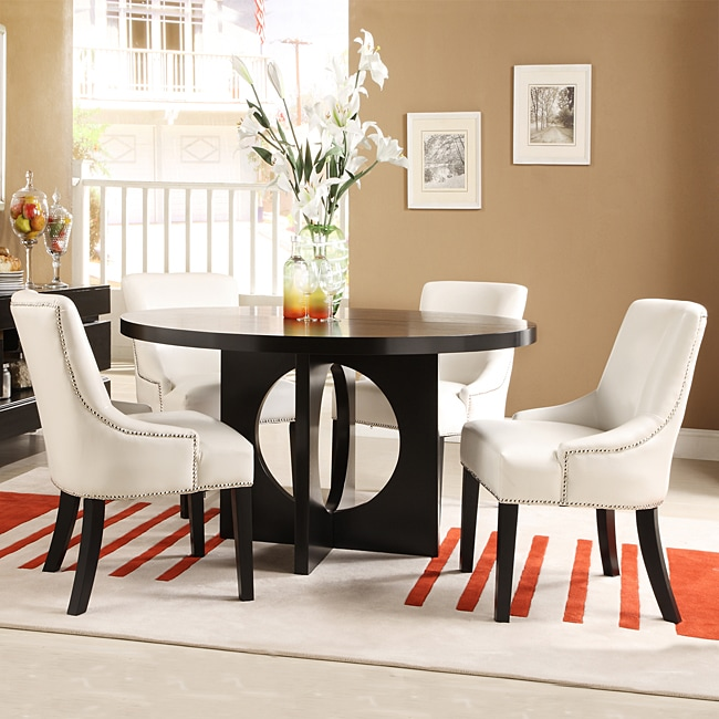 Westmont 5-piece White Faux Leather 54-inch Round Dining Set