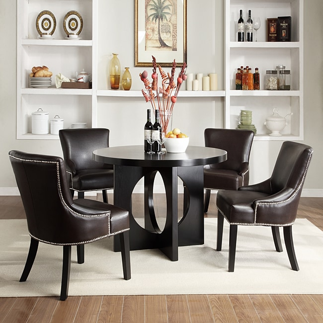 Westmont 5 piece brown faux leather 42 inch round dining for Fake kitchen set