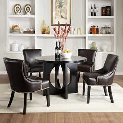 Thumbnail 1, Westmont 5-piece Brown Faux Leather 42-inch Round Dining Set.