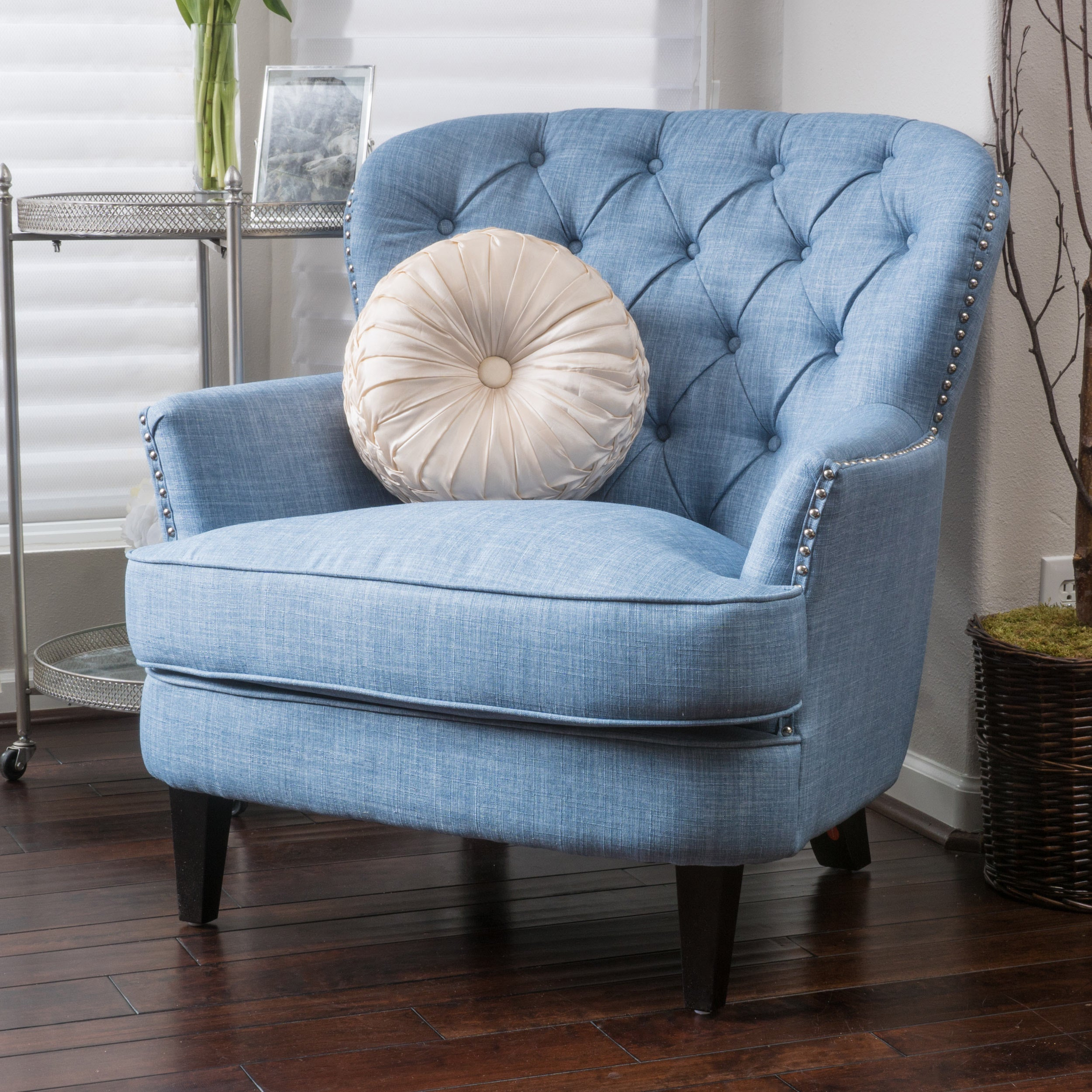 Tafton Tufted Oversized Fabric Club Chair By Christopher Knight Home  (Option: Light Blue)