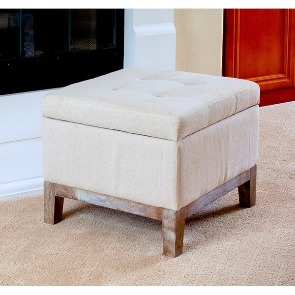 Tufted Linen Storage Ottoman With Weathered Oak Legs