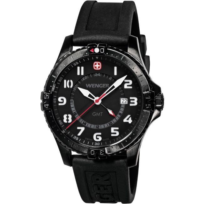 Wenger Men's 'Squadron GMT' Black Dial Dual Time Watch