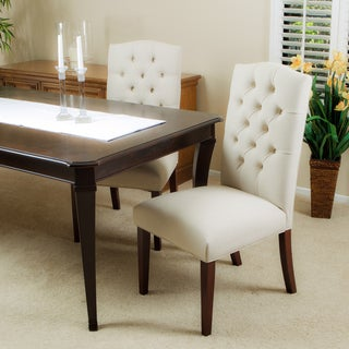 Crown Top Ivory Linen Dining Chair (Set of 2) by Christopher Knight Home