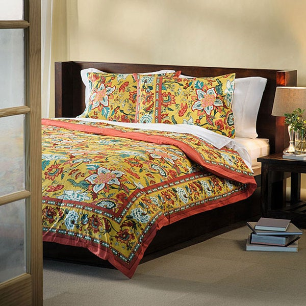 Country Style 3-piece Queen-size Duvet Cover Set (India)