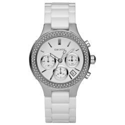 DKNY Women's White Ceramic Bracelet Chronograph Glitz Watch