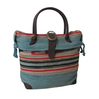 Amerileather 'Odyssey' Turquoise Tribal Print Wool-blend Tote Bag