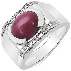Sheila Kay Platinum Overlay Oval-cut Ruby Ring
