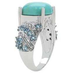 Sheila Kay Platinum Overlay Turquoise and Swiss Blue Topaz Ring