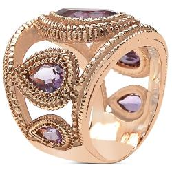 Sheila Kay 14k Rose Gold Overlay Pear-cut Amethyst Ring - Thumbnail 1