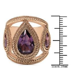 Sheila Kay 14k Rose Gold Overlay Pear-cut Amethyst Ring - Thumbnail 2