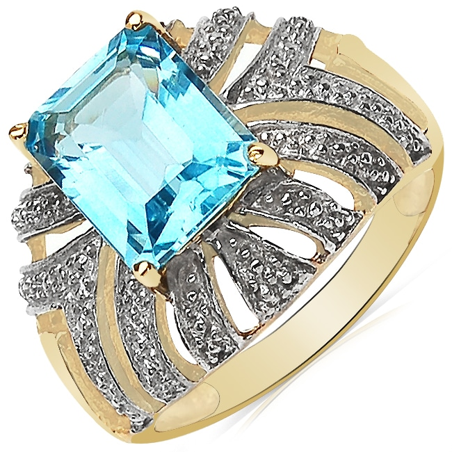b8b5ec1bb Shop Sheila Kay 14k Yellow Gold Overlay Emerald-cut Blue Topaz Ring - Free  Shipping On Orders Over $45 - Overstock - 6202524
