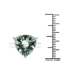Sheila Kay Platinum-Overlay Trillion-Cut Green Amethyst Ring