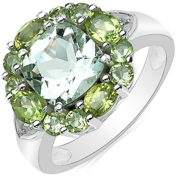 Sheila Kay Platinum Overlay Green Amethyst, Peridot and White Diamond Ring