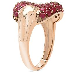 Sheila Kay 14k Rose Gold Overlay Ruby Cluster Ring - Thumbnail 1