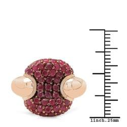 Sheila Kay 14k Rose Gold Overlay Ruby Cluster Ring - Thumbnail 2