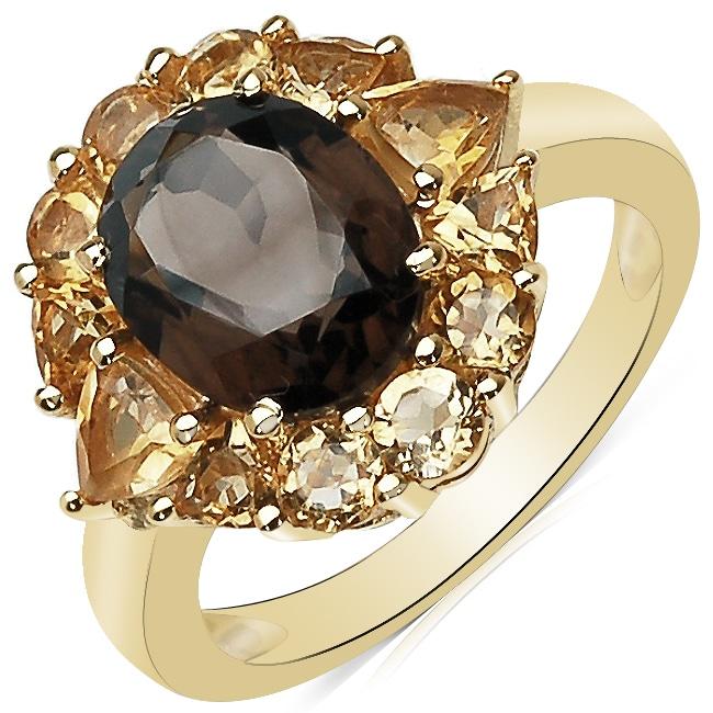 Sheila Kay 14k Gold Overlay Smokey Quartz and Citrine Ring