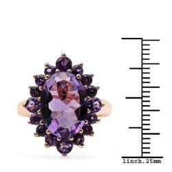 Sheila Kay 14k Rose Gold Overlay Amethyst Ring - Thumbnail 2