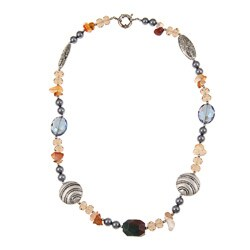 Pearlz Ocean Jasper, Carnelian, Shell Pearl and Glass Necklace