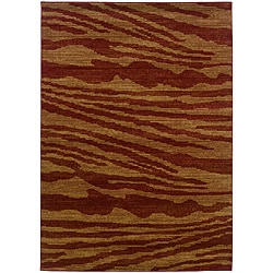 LNR Home Opulence Red/ Gold Abstract Rug (5'3 x 7'5)