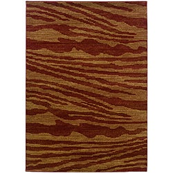 LNR Home Opulence Red/ Gold Abstract Rug (7'9 x 9'9)