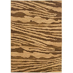LNR Home Opulence Cream/ Brown Abstract Rug (9'2 x 12'5)