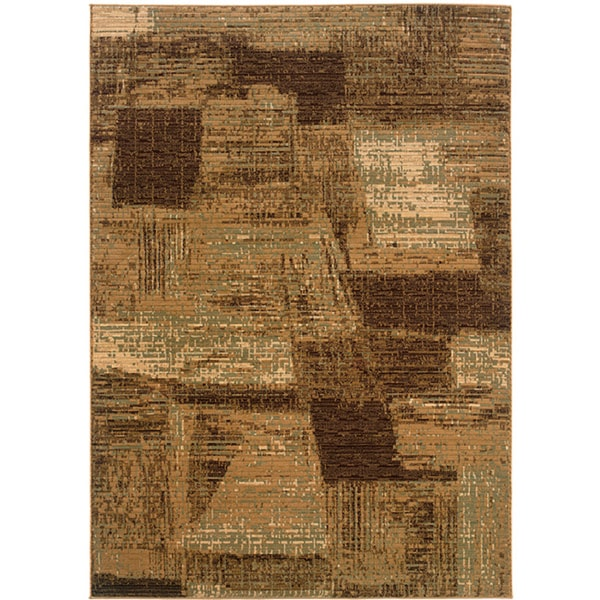 LNR Home Opulence Brown/ Cream Abstract Rug (7'9 x 9'9)