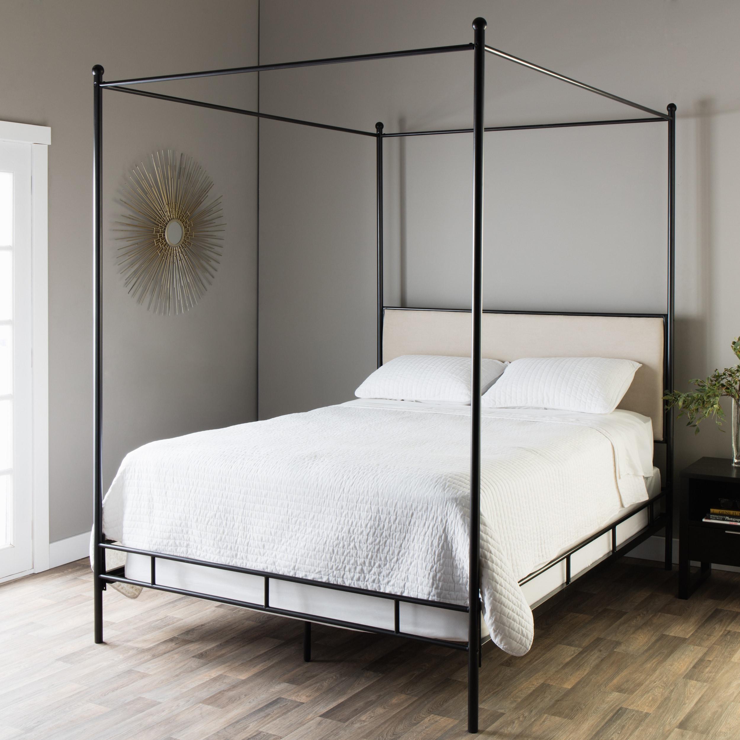 Lauren Upholstered Queen Size Canopy Bed