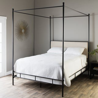 Lauren Upholstered Queen-size Canopy Bed