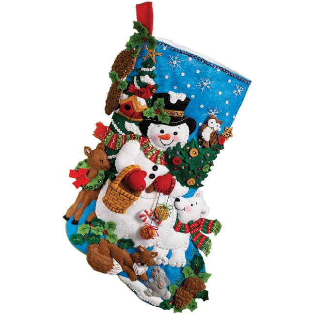 Woodland Snowman 18-inch Stocking Felt Applique Kit by Maria Stanziani