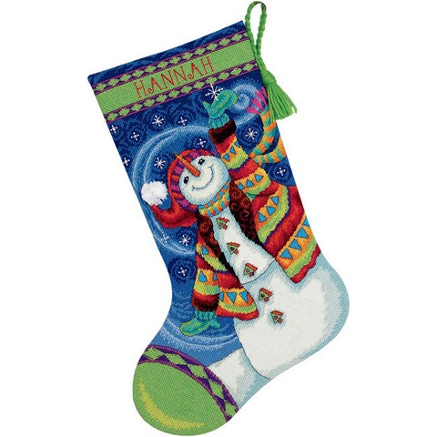 Happy Snowman Multicolored 100-percent Cotton Thread 16-inch Stocking Needlepoint Kit