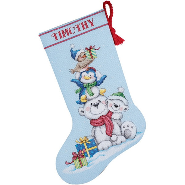 Stack Of Critters Stocking Counted Cross Stitch Kit