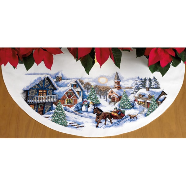 Sleigh Ride Tree Skirt Counted Cross Stitch Kit