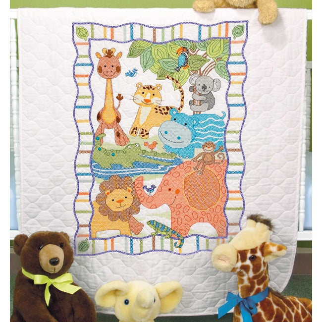 DIMENSIONS Baby Hugs Mod Zoo Quilt Stamped Cross Stitch K...