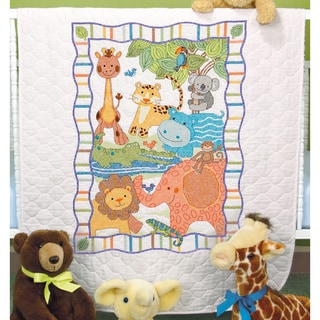 Baby Hugs Mod Zoo Quilt Stamped Cross Stitch Kit