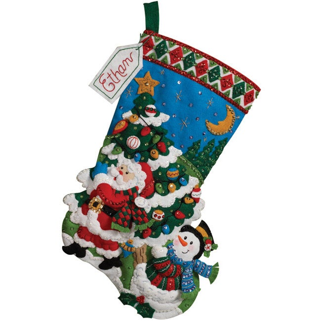 Tree Shopping Stocking Felt Applique Kit