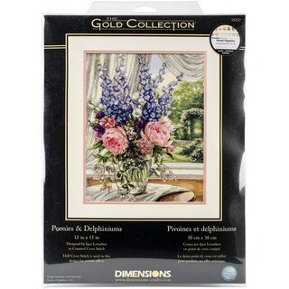 Gold Collection Peonies/ Delphiniums Counted Cross Stitch Kit