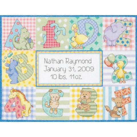 Dimensions 'Baby Hugs Zoo Alphabet Birth Record' Counted Cross Stitch Kit