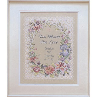 Dimensions 'Two Hearts Wedding Record' Stamped Cross Stitch Kit