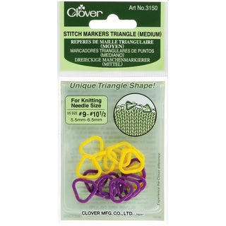 Clover Medium Triangle Yellow-and-purple Stitch Markers (Pack of 16)