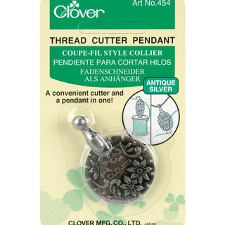 Clover Antique Silver Thread Cutter Pendant