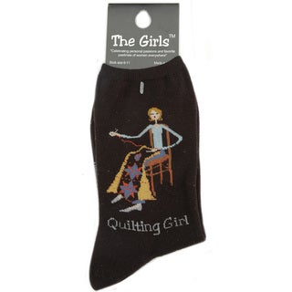K Bell The Girls 'Quilting Girl' Black Socks
