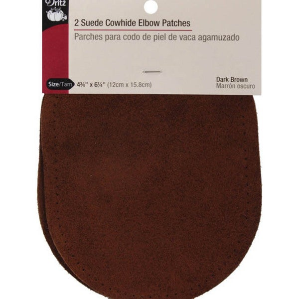 Dritz Dark-brown Suede Elbow Patches with Instructions (Pack of Two)