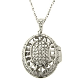 Finesque Silverplated Diamond Accent Oval Locket Necklace