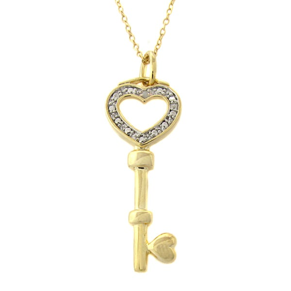 Finesque 14k Gold Overlay Diamond Accent Heart Key Necklace