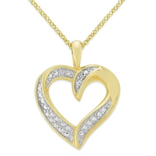 Finesque Overlay Diamond Accent Heart Necklace
