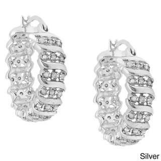 Finesque 14k Gold Overlay Diamond Accent 'S' Design Hoop Earrings