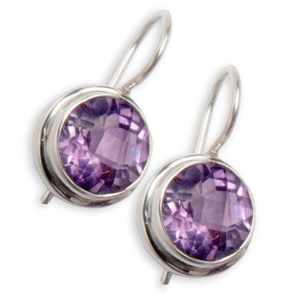 Handmade Sterling Silver Amethyst Earrings Purple India