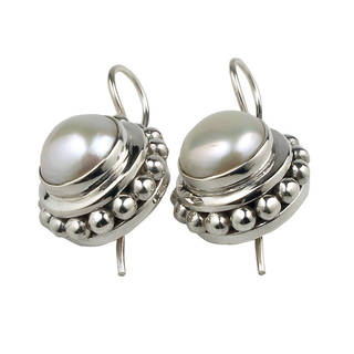 Sterling Silver Pearl Earrings (10 mm)(India)